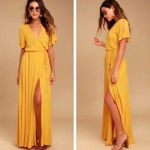 Lulu's Much Obliged Golden Wrap Maxi Dress